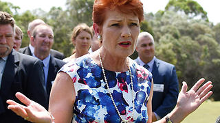One Nation leader Pauline Hanson addresses media during the One Nation candidates launch at North Lakes Golf Club, Brisbane, Sunday, Dec. 18, 2016. (AAP Image/Sarah Motherwell) NO ARCHIVING
